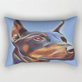 Blue Doberman Rectangular Pillow