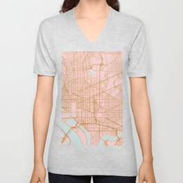 Washington DC map Unisex V-Neck