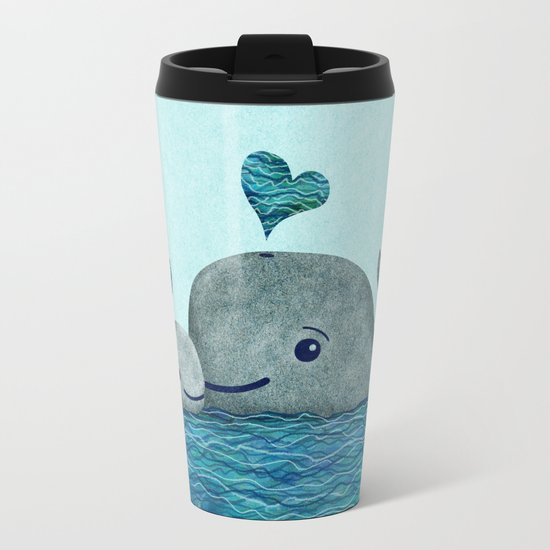 Whale Mom and Baby with Hearts Metal Travel Mug