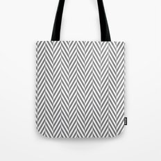 Grey Herringbone Tote Bag