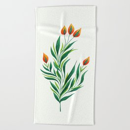 Abstract Green Plant With Orange Buds Beach Towel