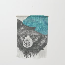 bear in blue Wall Hanging
