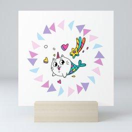 Cats Mermaid Unicorn Design Mini Art Print