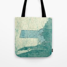 Massachusetts State Map Blue Vintage Tote Bag