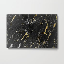 Gold Flecked Black Marble Metal Print