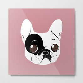 Single Hooded Pied French Bulldog Puppy Metal Print