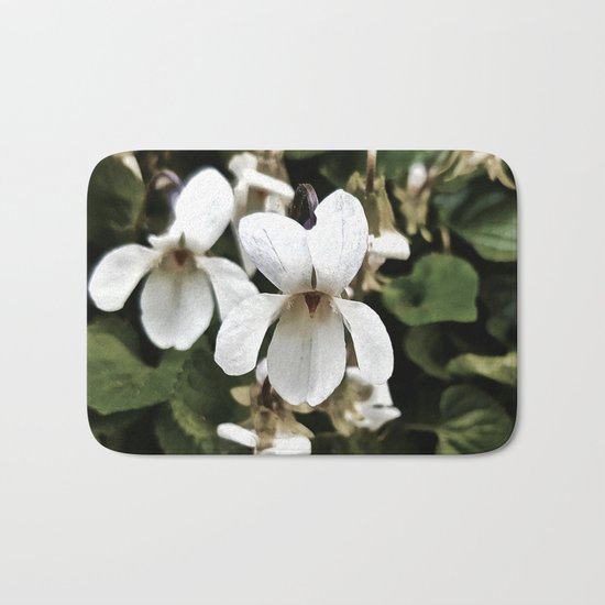 Wild White Violet; Take A Chance On Happiness Bath Mat