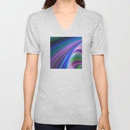 Fractal Art: Elegant Elliptical Rainbow Design Unisex V-Neck