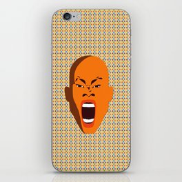 orange color male head screaming face pattern digital art zolliophone iPhone Skin