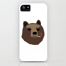Smoking gopnik Kamchatka brown bear Камчатский бурый медведь (Far Eastern brown bear) iPhone Case