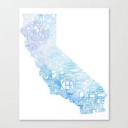 Typographic California - Blue Watercolor map Canvas Print
