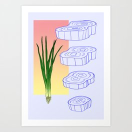 scallion cross section graphic Art Print