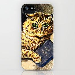 """Cat Tales"" Cat Reading Book - Louis Wain iPhone Case"