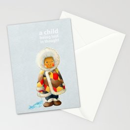 a child being lost in thought Stationery Cards