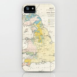 Vintage Map of the Coal Fields of Great Britain iPhone Case