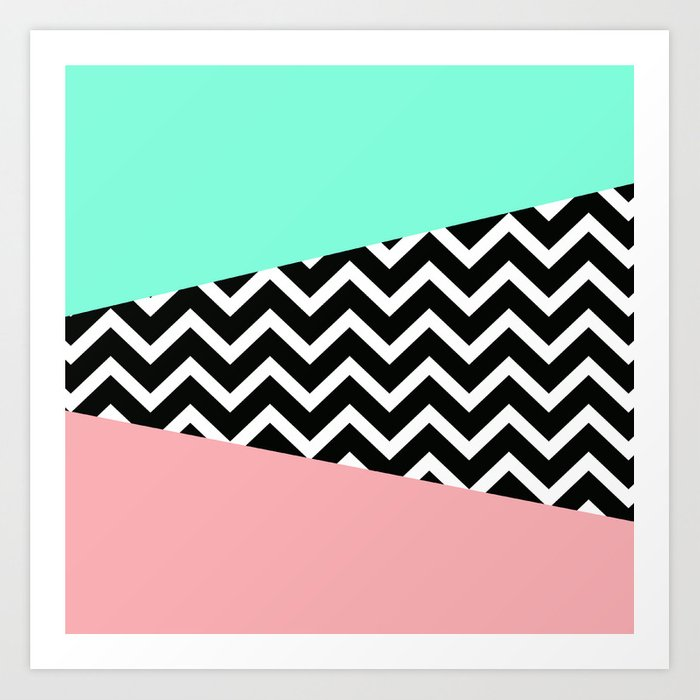 Pastel Chevron Tiffany Rose 80s Pattern Art Print