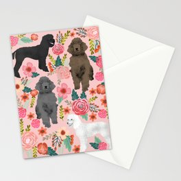 Poodle mixed coat colors brown poodle black poodle white poodle pet portrait dog art animal Stationery Cards