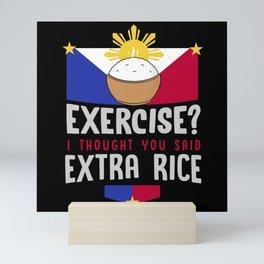 extra rice, extra rice exercise, panda Mini Art Print