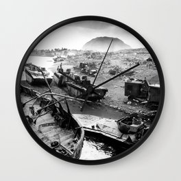 Iwo Jima Beach Painting Wall Clock