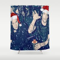 larry stylinson Shower Curtains featuring Larry Stylinson Funny Cookie Christmas by girllarriealmighty