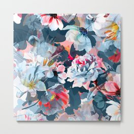 mysterious multicoloured floral Metal Print