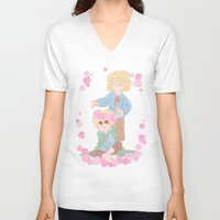 hetalia V-neck T-shirts featuring Flower Crown by kitkatkatee