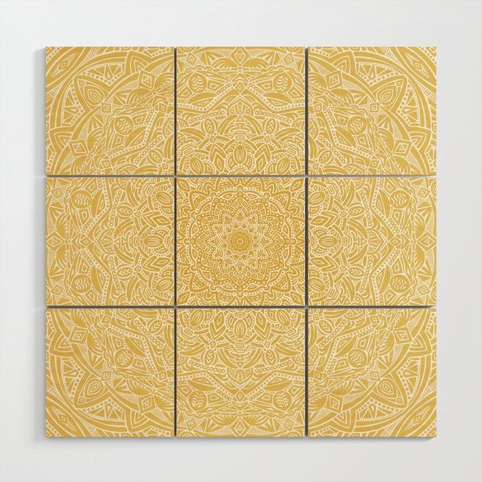 Most Detailed Mandala! Yellow Golden Color Intricate Detail Ethnic Mandalas Zentangle Maze Pattern Wood Wall Art