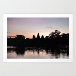 Sunrise at Angkor Wat Temple, Siem Reap, Cambodia   Travel photography   pink wall art   pink photo print Art Print