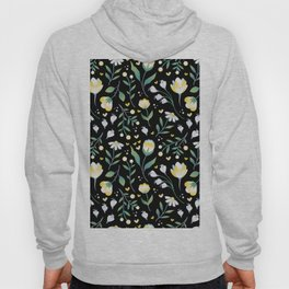 Colourscape Summer Floral Pattern Black Hoody