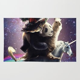 Cat Riding Chicken Turtle Panda Llama Unicorn Rug