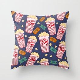 Popcorn and movie night Throw Pillow