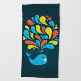 Dark Colorful Happy Cartoon Whale Beach Towel