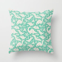 Delightful Dinos (teal) Throw Pillow