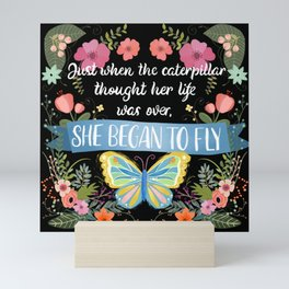 She Began To Fly Hand Lettered Floral Sign Mini Art Print