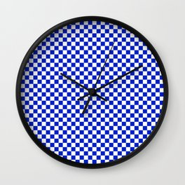 Small Cobalt Blue and White Checkerboard Pattern Wall Clock