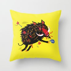 The wounded wild boar Throw Pillow