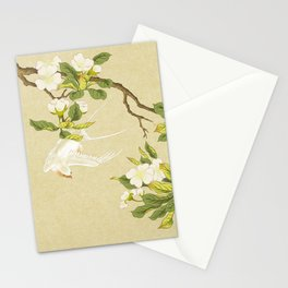 Pear blossoms and white swallow Type A: Minhwa-Korean traditional/folk art Stationery Cards