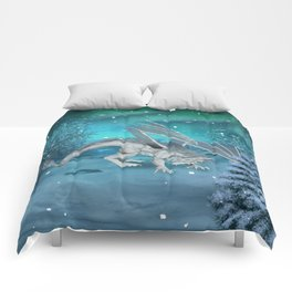 Awesome ice dragon in the winter landscape Comforters