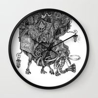library Wall Clocks featuring the wandering library 2 by vasodelirium