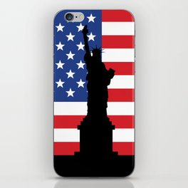 United states of America flag and Statue of Liberty in New York iPhone Skin