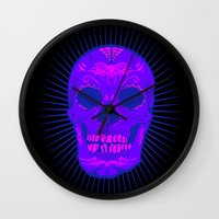 calavera Wall Clocks featuring Calavera by Joe Baron