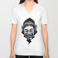 cup V-neck T-shirts featuring Anonymous by Dr. Lukas Brezak