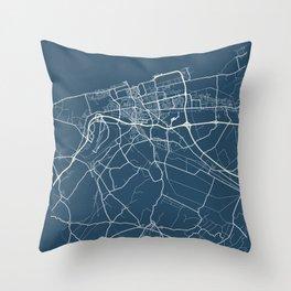 Calais Blueprint Street Map, Calais Colour Map Prints Throw Pillow