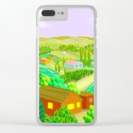Country Scene with Farms Clear iPhone Case