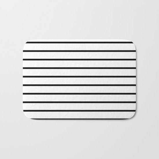 Thin Black Stripe Pattern Bath Mat