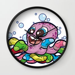 SOCKTOPUS Octopus Socks Happy Cartoon Tentacle Wall Clock
