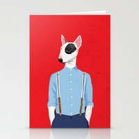 bull terrier Stationery Cards featuring Skinhead Bull Terrier by Studio Drawgood