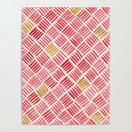Red and Ochre Basketweave Poster