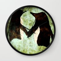 penguins Wall Clocks featuring Penguins by James Peart