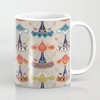 damask Mugs featuring carousel damask by Sharon Turner